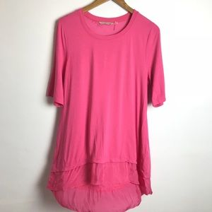 Soft Surroundings Pink Tunic Top Short Sleeve Lg